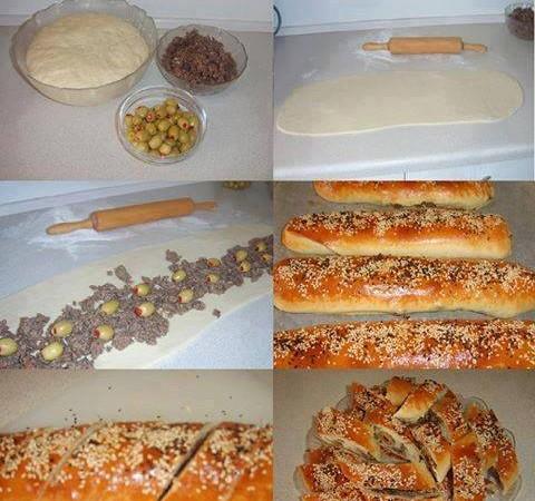 Вкусни хлебчета с кайма и маслини